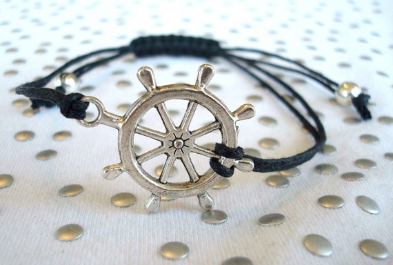 Silver Nautical Bracelet Rudder Charm
