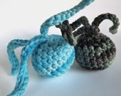 Boyish Charm Organic Catnip Duo - Simply Fun Collection - Set of 2 Hand Crocheted Squiggly Ball Toys for Cats in Camo and Blue Multi-Colors