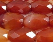 Carnelian faceted barrel beads 10 to 12mm -Code 0074