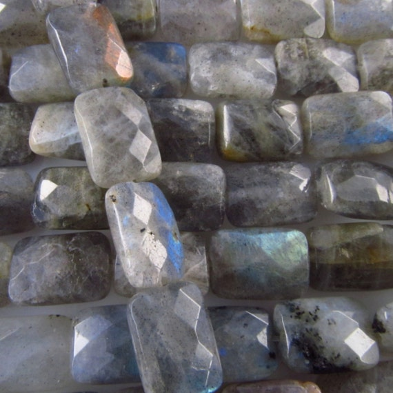 """One 15.5"""" strand Labradorite faceted rectangle cushion gemstone beads 10x14mm ET128"""