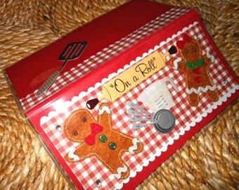 Gingerbread Man Vinyl Checkbook Cover - Scrapbooked