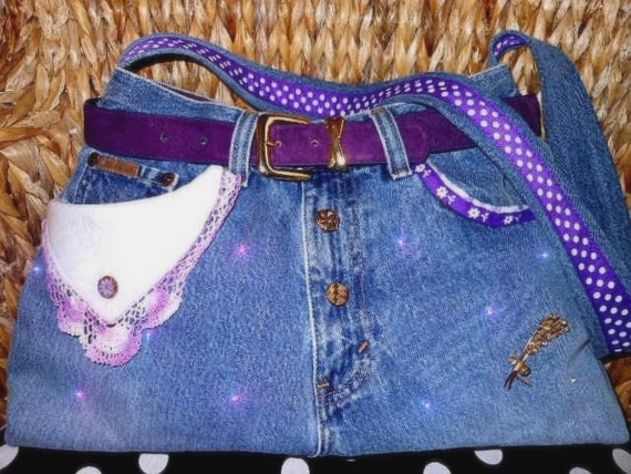 Upcycled Recycled Jeans Purse Purple Floral Violets:  PAMELA