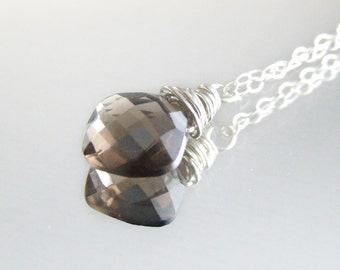 Smoky Quartz Necklace - sterling silver brown faceted briolette wire wrapped cushion square pendant Gift