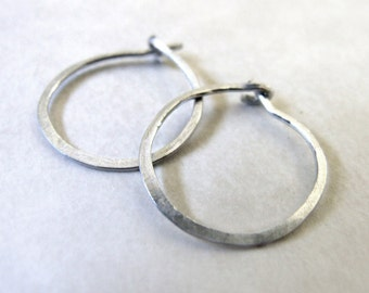 """Sterling Hoops - tiny silver hoop earrings, simple classic minimalist basic lightly hammered 1/2"""" 0.5"""" 12mm interchangeable bail"""