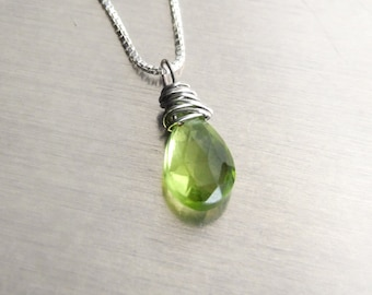 Peridot Pendant Necklace - Silver natural gemstone solitaire green wire wrapped Sterling Eco-friendly August birthstone anniversary Gift