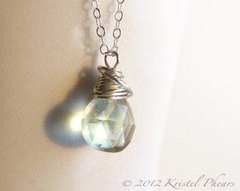 Green Amethyst pendant necklace - Silver prasiolite mint aqua light green gemstone Sterling jewelry bridesmaid Gift