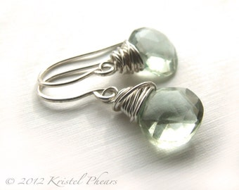 Green Amethyst drop earrings - silver prasiolite dangle sterling mint aqua green wedding bridesmaid wedding birthday Mothers Day Gift