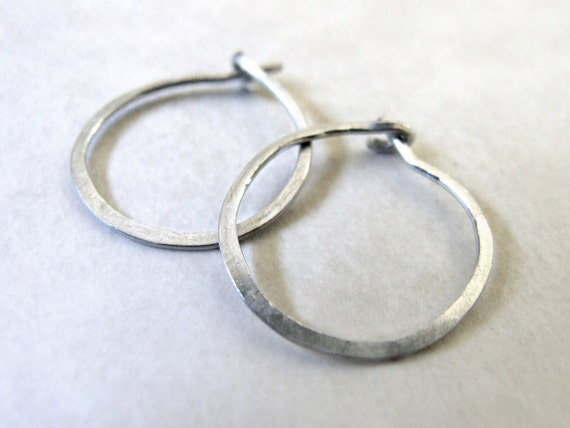"Silver Hoops - small hoop earrings eco-friendly sterling argentium, fine silver, simple classic basic 3/4"" 18mm 20mm gift"