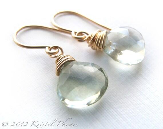Green Amethyst earrings - gold drop dangle Eco-Friendly February Birthstone mint aqua prasiolite gemstone jewelry bridesmaid birthday Gift