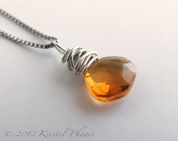 Citrine Pendant charm - silver gold-filled necklace earring charm wire wrapped solitaire sterling orange yellow November birthstone gift