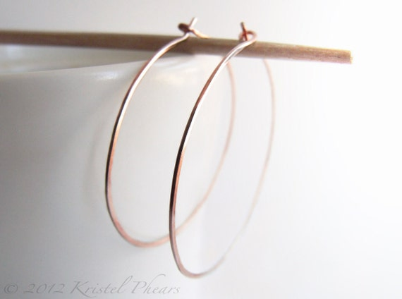 "Copper Hoops - xlarge extra large hammered hoop earrings 2""copper or red brass, earthy classic minimalist basic gift 48mm 50mm"