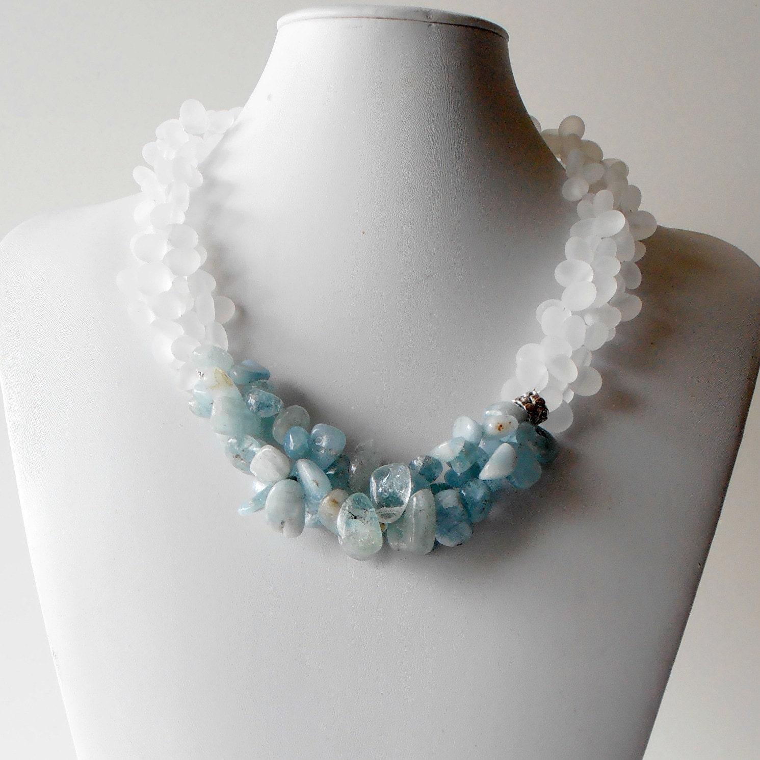 Aquamarine Necklaces: Chunky Necklace Aquamarine Gemstone Jewelry Light By