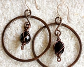 Large Copper Circle Earrings with Dangling Black Glass Bead