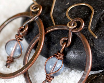Medium Copper Circle Earrings with Dangling Round Blue Glass Bead
