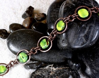 Saturn-Ring Copper Bracelet with Marbled Green Beads