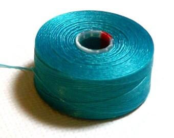 Turquoise Blue C-Lon Beading Thread, Size D, 1 Bobbin of 78 Yards, Item 635