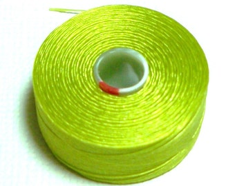 Chartreuse C-Lon Beading Thread, Size D, 1 Bobbin of 78 Yards, Item 587