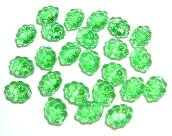Peridot Grapes 10x14mm, 24 Pieces Czech Glass, Item 176
