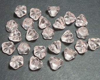 Rosaline Pink Bell Flower 8x6mm, 24 Pieces Czech Glass, Item 638