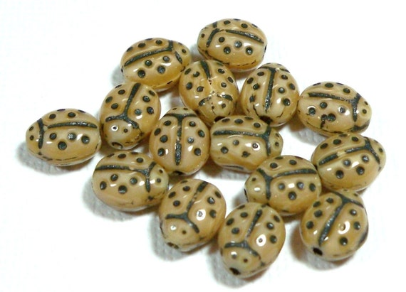 Mocha Brown Small Ladybugs 9x7mm, 15 Pieces Czech Glass, Item 183