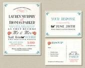 Printable Wedding Invitation & RSVP postcard - Vintage poster design with red roses