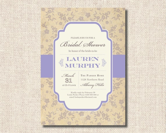 Vintage French Chic Printable Bridal Shower Invitation - You choose the colour