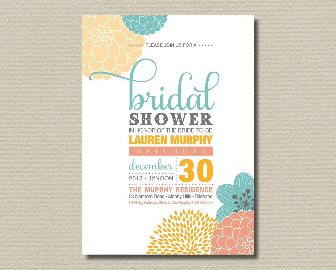 printable bridal shower invitation modern by rosiedaydesign