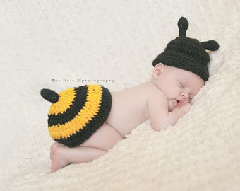 "Crocheted Honey Bee Hat and Tushy Topper Photo Prop Outfit size newborn to 3 months""FREE SHIPPING"""