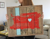 Typewriter Heart Reclaimed Wood Painting red and teal