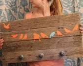 Reclaimed Wood Coat Rack Birds on a Wire