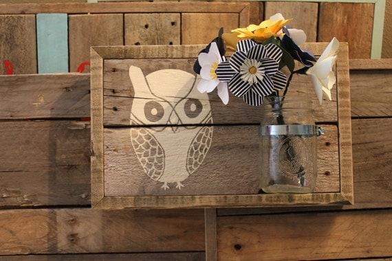 "Reclaimed Wall Art Owl, Wall Vase, ""Owl Pick You Flowers"""