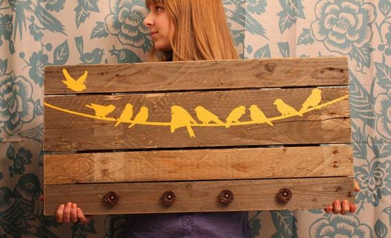 Reclaimed Wood Coat Rack (Yellow Birds on Line)
