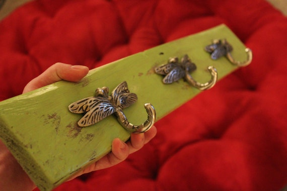 Dragonfly Reclaimed Wood Coat Rack Jewelry Holder