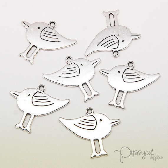 10pcs Antique Silver Bird Charms