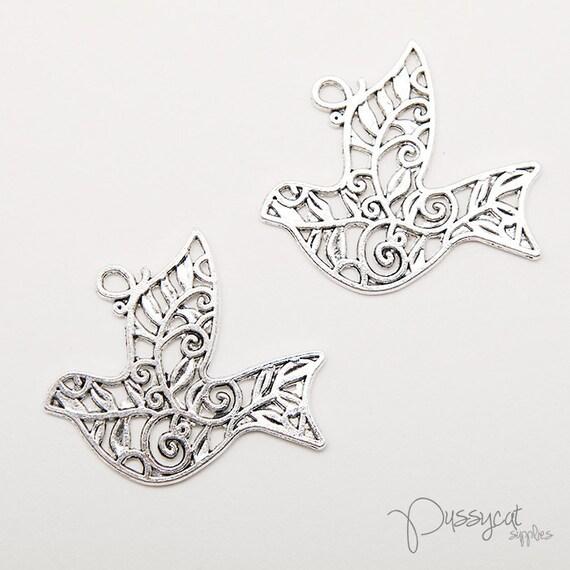8pcs Antique Silver Filigree Bird Pendant