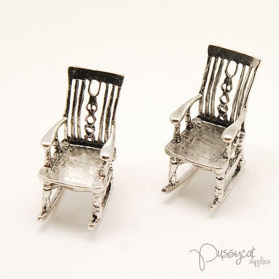 2pcs Antique Silver Rocking Chair Pendant