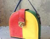 Vintage 1980s leather colour block structured handbag