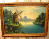 Old Antique Oil Painting Picture Art Landscape Windmill Framed