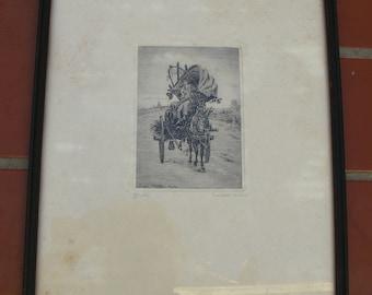 1900s Luigi Olivetti Etching Gravure Engraving Carretto de Vino Signed
