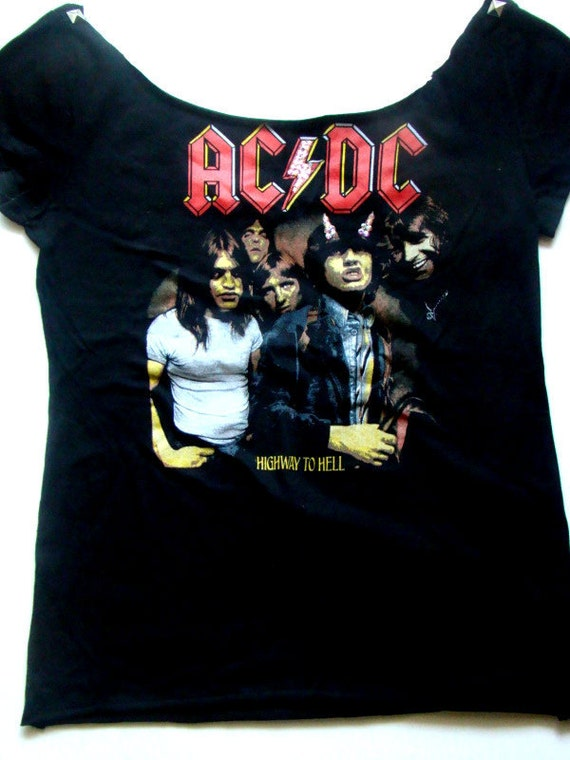 Off The Shoulder AC/DC Shirt w/ Swarovski Crystals & Pyramid Studs