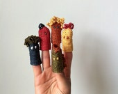 Hand crochet puppets handmade in organic cotton, organic toys, eco friendly toys, ooak toy