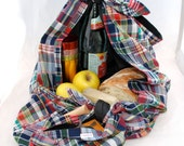 Convertible picnic blanket / market tote: Lined madras furoshiki with pocket and napkins