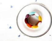 Handmade Beaded Felt Memory wire bracelet (multi colors, rainbow)