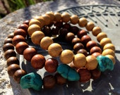 Set of 3 wooden bracelets with turquoise accent