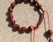 Red tiger eye bracelet with macrame close