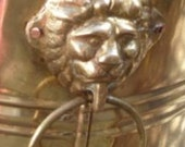 Reserved for C: Vintage Antique Brass Footed Planter - Mid century Hollywood Regency - Lion's Head Handles
