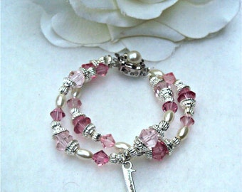 Baby's 1st, 2nd OR 3rd birthday keepsake DOUBLE strand bracelet - you choose the charm.