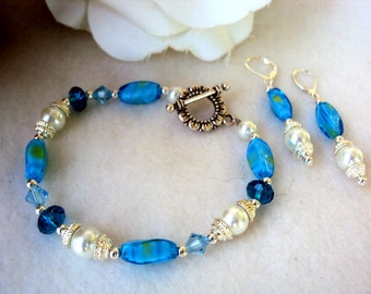 Womens Lampwork and Pearl bracelet WITH MATCHING EARRINGS - custom sizing available