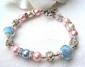 Womens Lampwork Pink & Blue Beaded Bracelet - CUSTOM SIZING AVAILABLE
