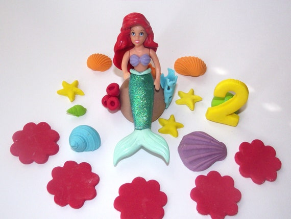 Handmade edible cake topper& Ariel little mermaid plastic figure for Kodi Estep
